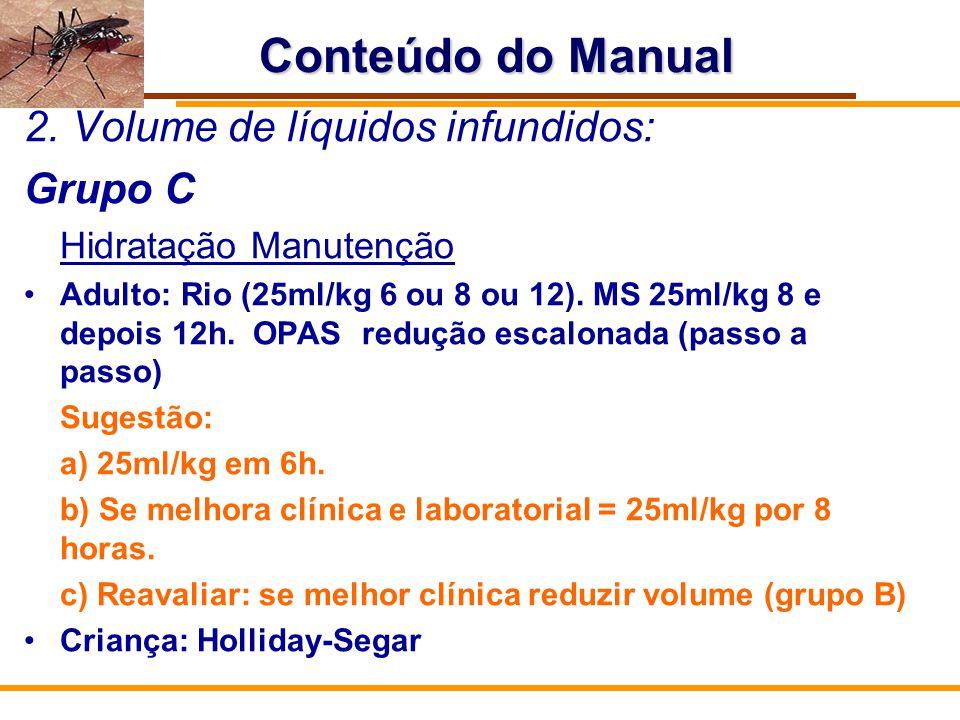 Conteúdo do Manual Volume de líquidos infundidos: Grupo C