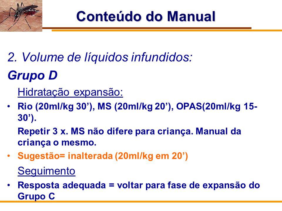 Conteúdo do Manual Volume de líquidos infundidos: Grupo D