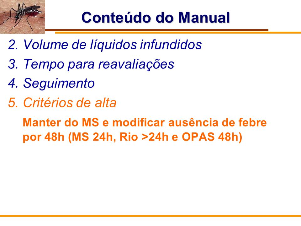 Conteúdo do Manual Volume de líquidos infundidos
