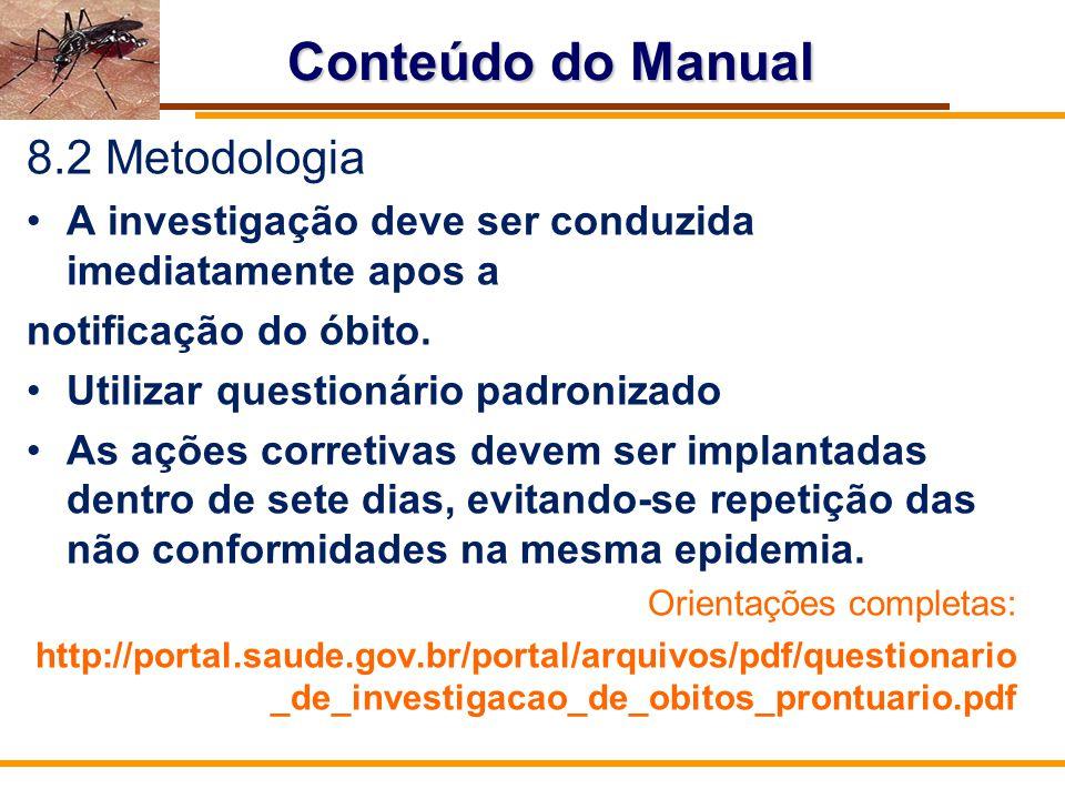 Conteúdo do Manual 8.2 Metodologia