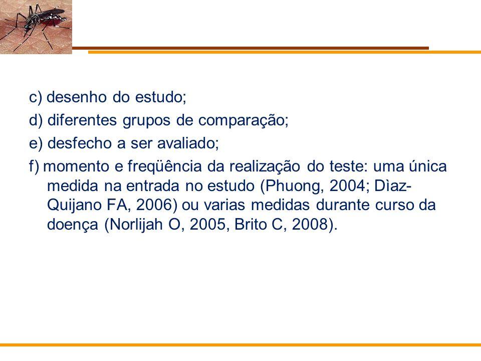 c) desenho do estudo; d) diferentes grupos de comparação; e) desfecho a ser avaliado;