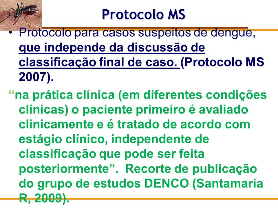 Protocolo MS Protocolo para casos suspeitos de dengue, que independe da discussão de classificação final de caso. (Protocolo MS 2007).