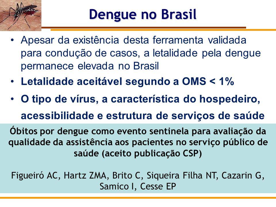 Dengue no Brasil Apesar da existência desta ferramenta validada para condução de casos, a letalidade pela dengue permanece elevada no Brasil.