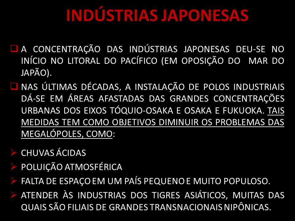 INDÚSTRIAS JAPONESAS A CONCENTRAÇÃO DAS INDÚSTRIAS JAPONESAS DEU-SE NO INÍCIO NO LITORAL DO PACÍFICO (EM OPOSIÇÃO DO MAR DO JAPÃO).