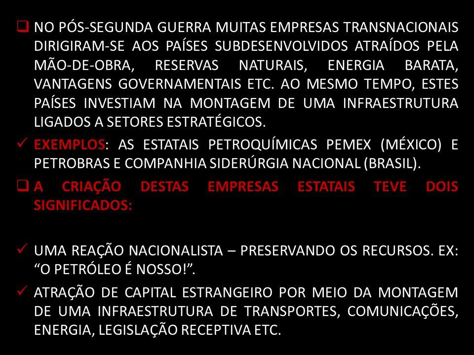 NO PÓS-SEGUNDA GUERRA MUITAS EMPRESAS TRANSNACIONAIS DIRIGIRAM-SE AOS PAÍSES SUBDESENVOLVIDOS ATRAÍDOS PELA MÃO-DE-OBRA, RESERVAS NATURAIS, ENERGIA BARATA, VANTAGENS GOVERNAMENTAIS ETC. AO MESMO TEMPO, ESTES PAÍSES INVESTIAM NA MONTAGEM DE UMA INFRAESTRUTURA LIGADOS A SETORES ESTRATÉGICOS.
