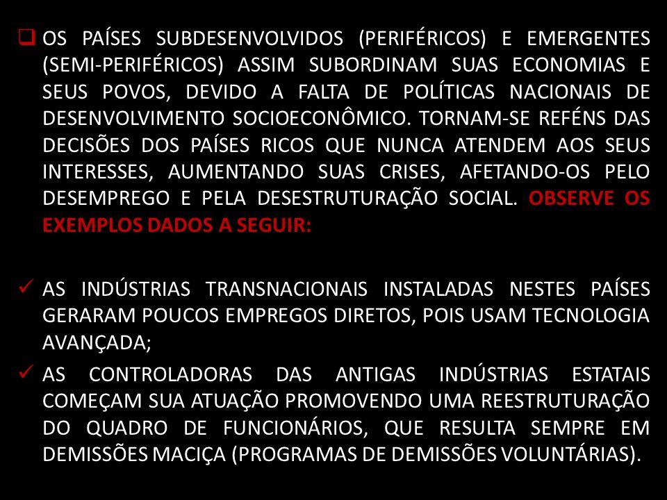 OS PAÍSES SUBDESENVOLVIDOS (PERIFÉRICOS) E EMERGENTES (SEMI-PERIFÉRICOS) ASSIM SUBORDINAM SUAS ECONOMIAS E SEUS POVOS, DEVIDO A FALTA DE POLÍTICAS NACIONAIS DE DESENVOLVIMENTO SOCIOECONÔMICO. TORNAM-SE REFÉNS DAS DECISÕES DOS PAÍSES RICOS QUE NUNCA ATENDEM AOS SEUS INTERESSES, AUMENTANDO SUAS CRISES, AFETANDO-OS PELO DESEMPREGO E PELA DESESTRUTURAÇÃO SOCIAL. OBSERVE OS EXEMPLOS DADOS A SEGUIR: