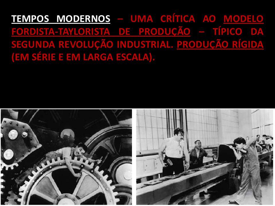 TEMPOS MODERNOS – UMA CRÍTICA AO MODELO FORDISTA-TAYLORISTA DE PRODUÇÃO – TÍPICO DA SEGUNDA REVOLUÇÃO INDUSTRIAL.