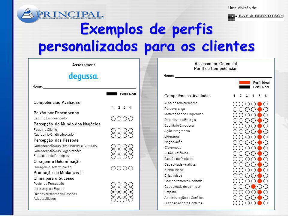 Exemplos de perfis personalizados para os clientes