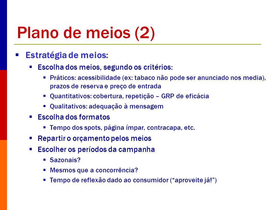 Plano de meios (2) Estratégia de meios: