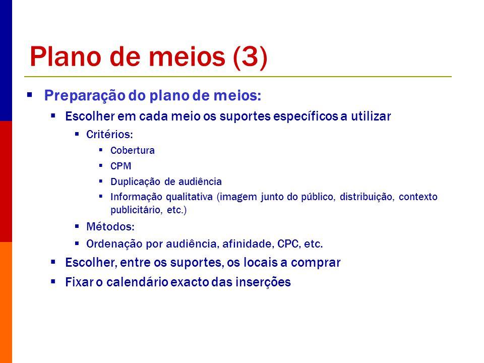 Plano de meios (3) Preparação do plano de meios: