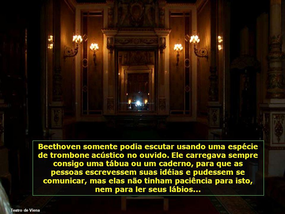 Beethoven somente podia escutar usando uma espécie de trombone acústico no ouvido. Ele carregava sempre consigo uma tábua ou um caderno, para que as pessoas escrevessem suas idéias e pudessem se comunicar, mas elas não tinham paciência para isto, nem para ler seus lábios...