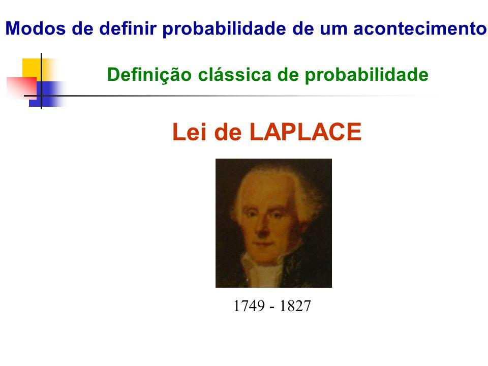 Lei de LAPLACE Modos de definir probabilidade de um acontecimento