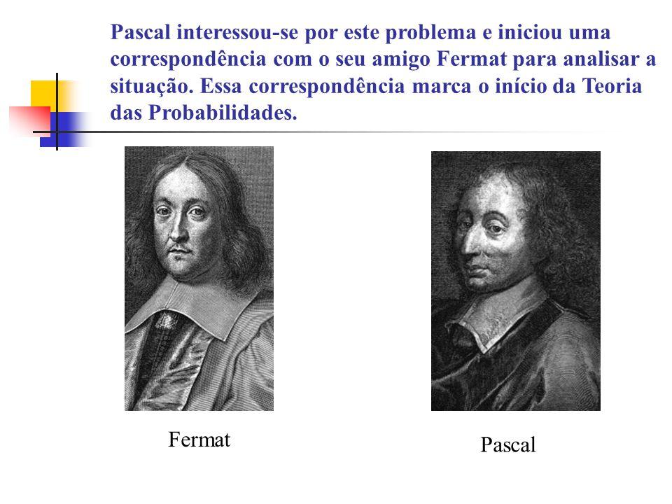 Pascal interessou-se por este problema e iniciou uma correspondência com o seu amigo Fermat para analisar a situação. Essa correspondência marca o início da Teoria das Probabilidades.