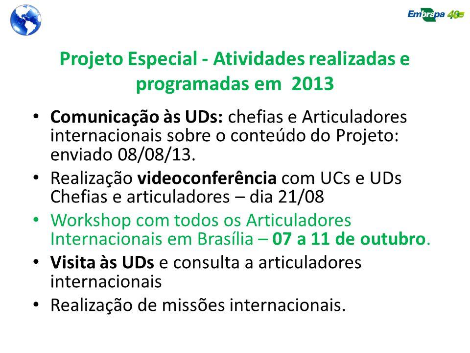 Projeto Especial - Atividades realizadas e programadas em 2013
