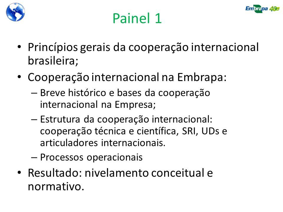 Painel 1 Princípios gerais da cooperação internacional brasileira;
