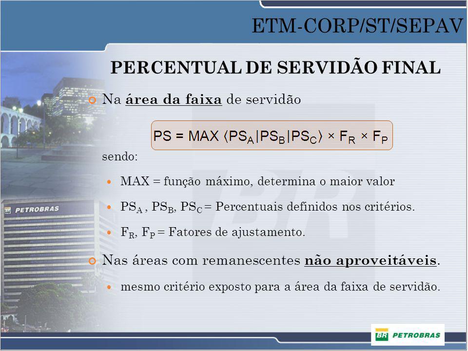 PERCENTUAL DE SERVIDÃO FINAL