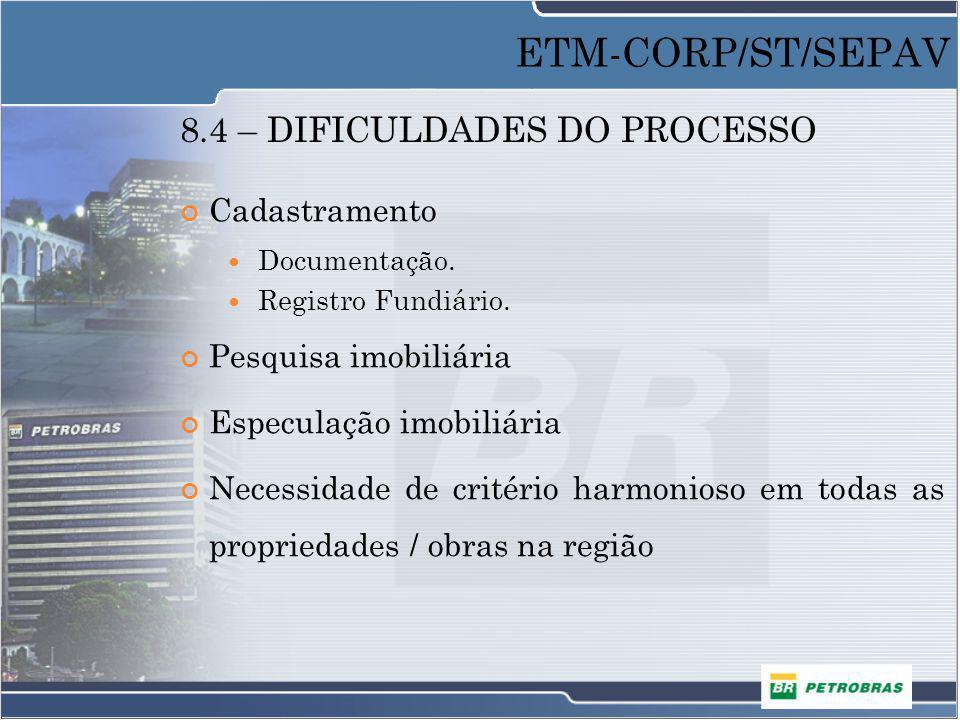 8.4 – DIFICULDADES DO PROCESSO