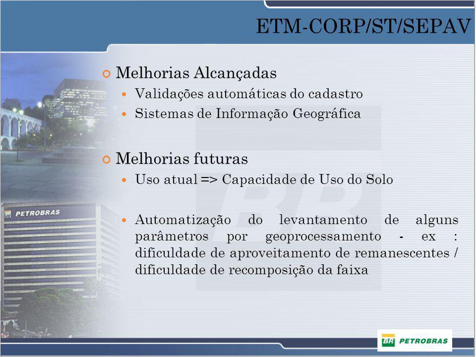 ETM-CORP/ST/SEPAV Melhorias Alcançadas Melhorias futuras