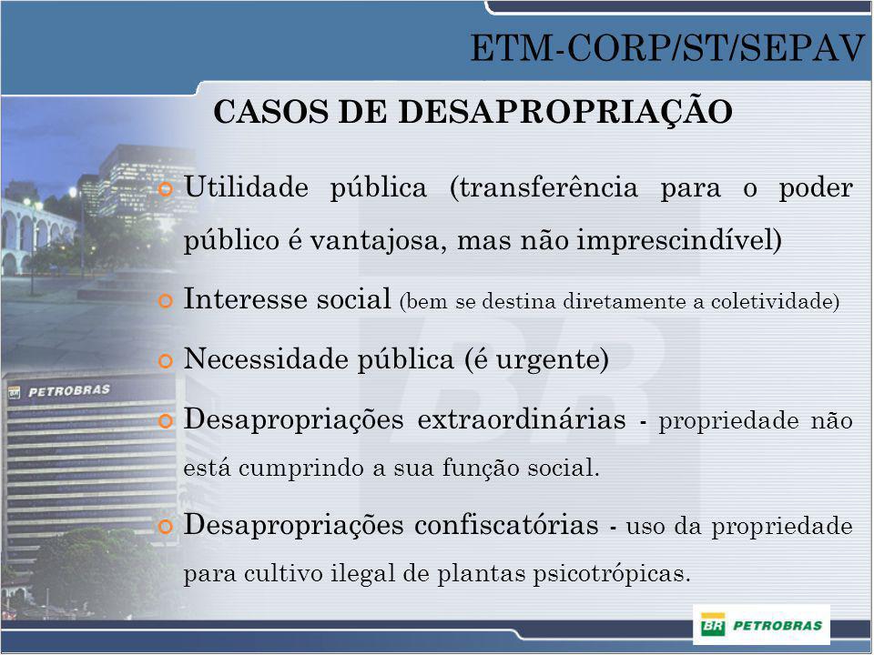 CASOS DE DESAPROPRIAÇÃO