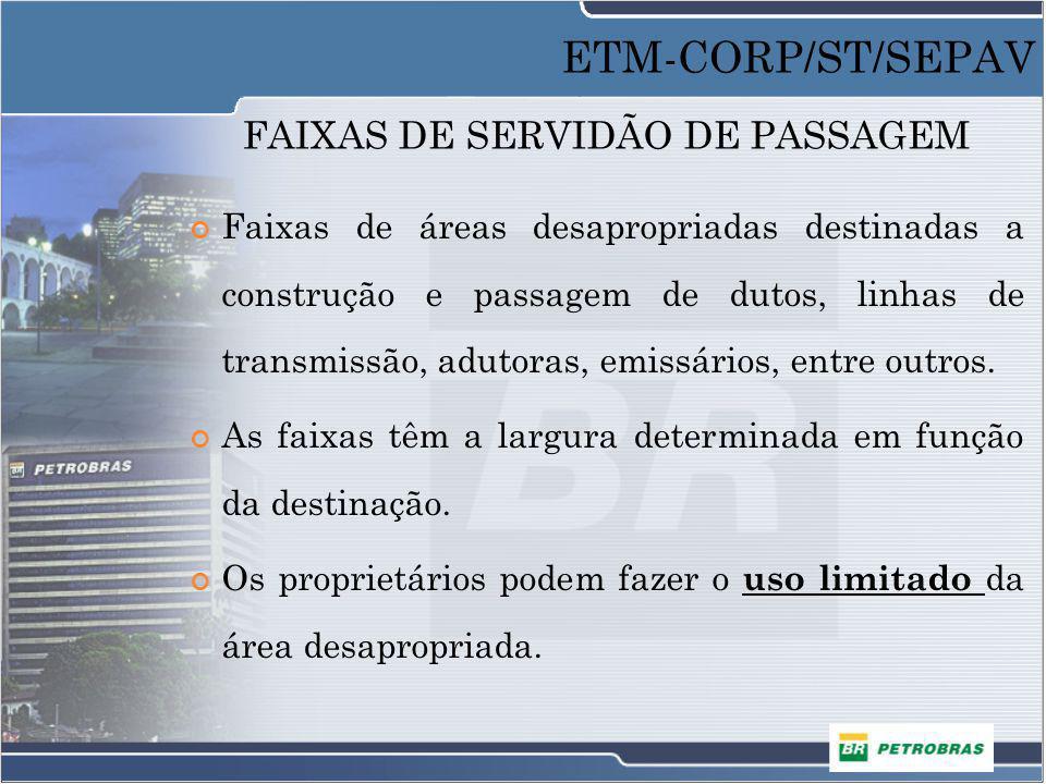 FAIXAS DE SERVIDÃO DE PASSAGEM