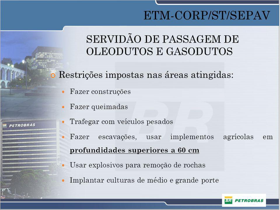 SERVIDÃO DE PASSAGEM DE OLEODUTOS E GASODUTOS