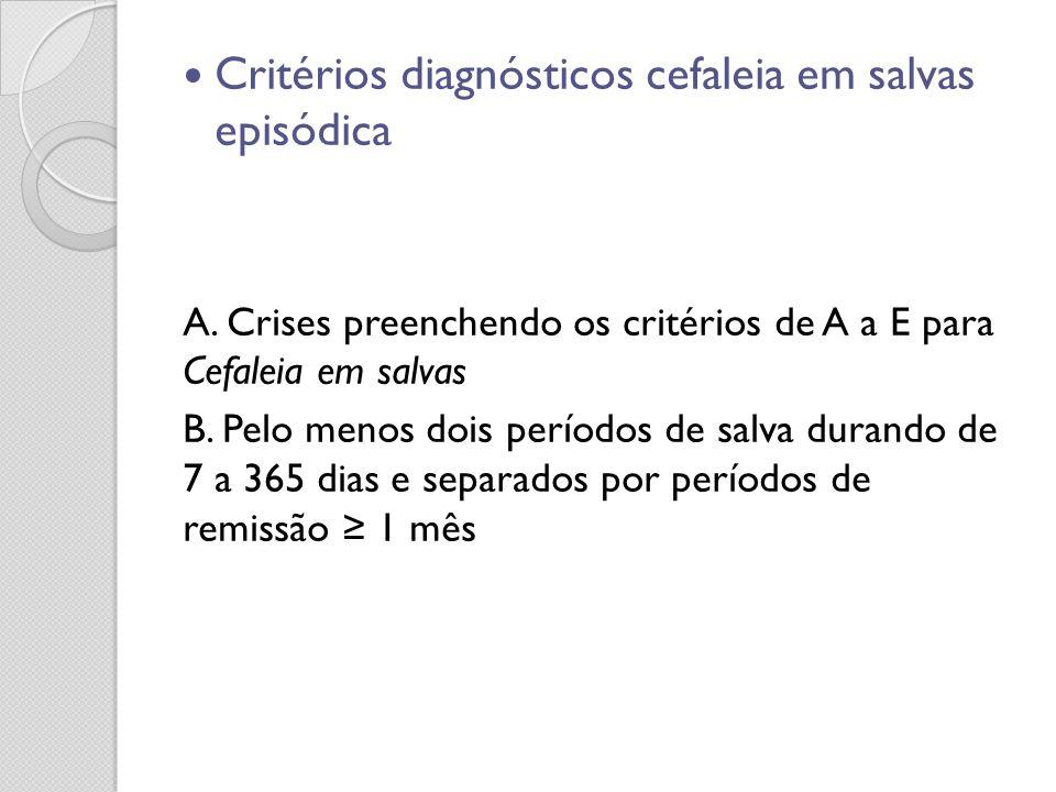 Critérios diagnósticos cefaleia em salvas episódica