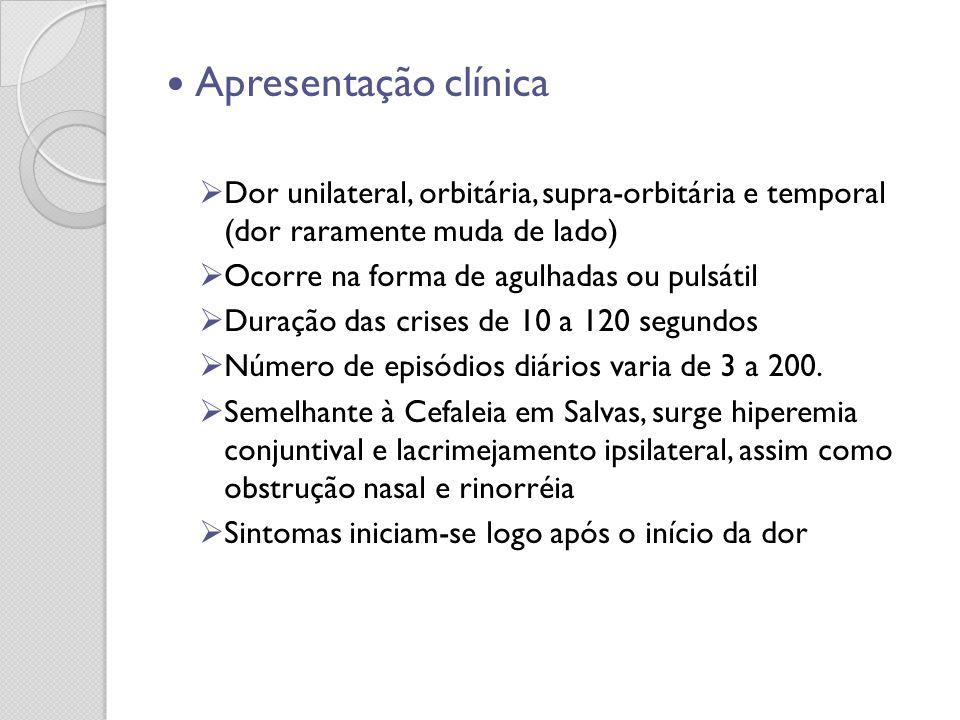 Apresentação clínica Dor unilateral, orbitária, supra-orbitária e temporal (dor raramente muda de lado)