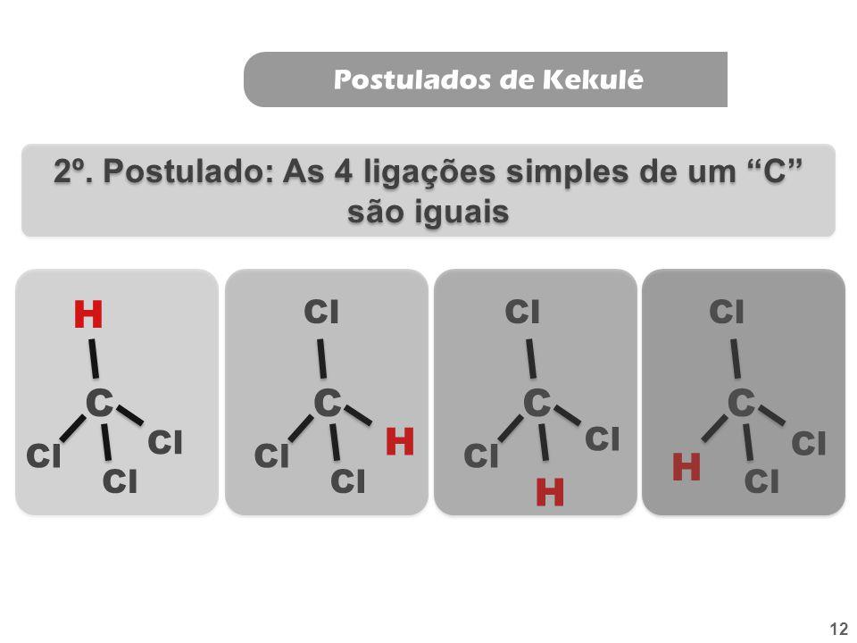 2º. Postulado: As 4 ligações simples de um C são iguais