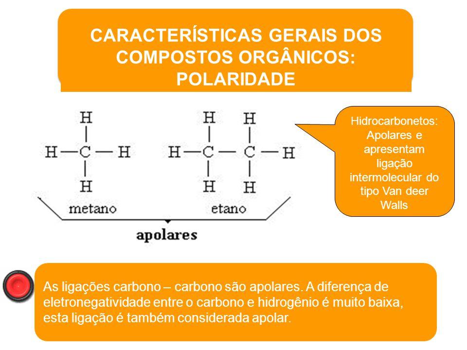 CARACTERÍSTICAS GERAIS DOS COMPOSTOS ORGÂNICOS: POLARIDADE