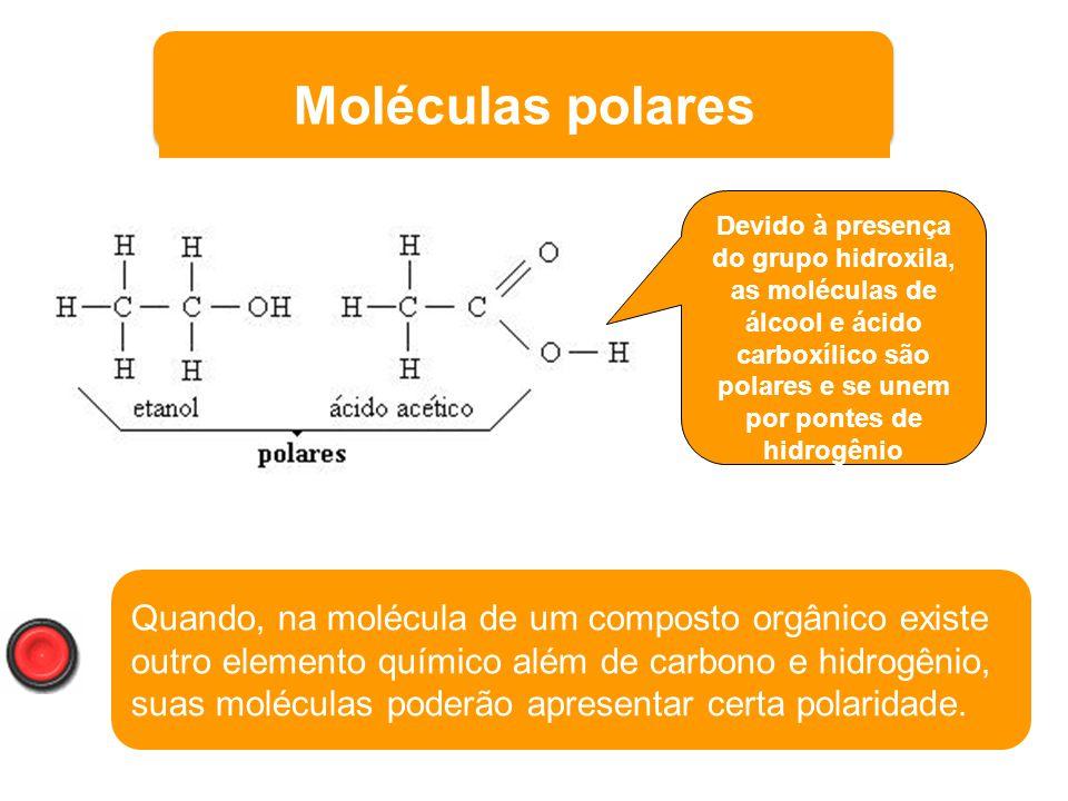 Moléculas polares Devido à presença do grupo hidroxila, as moléculas de álcool e ácido carboxílico são polares e se unem por pontes de hidrogênio.