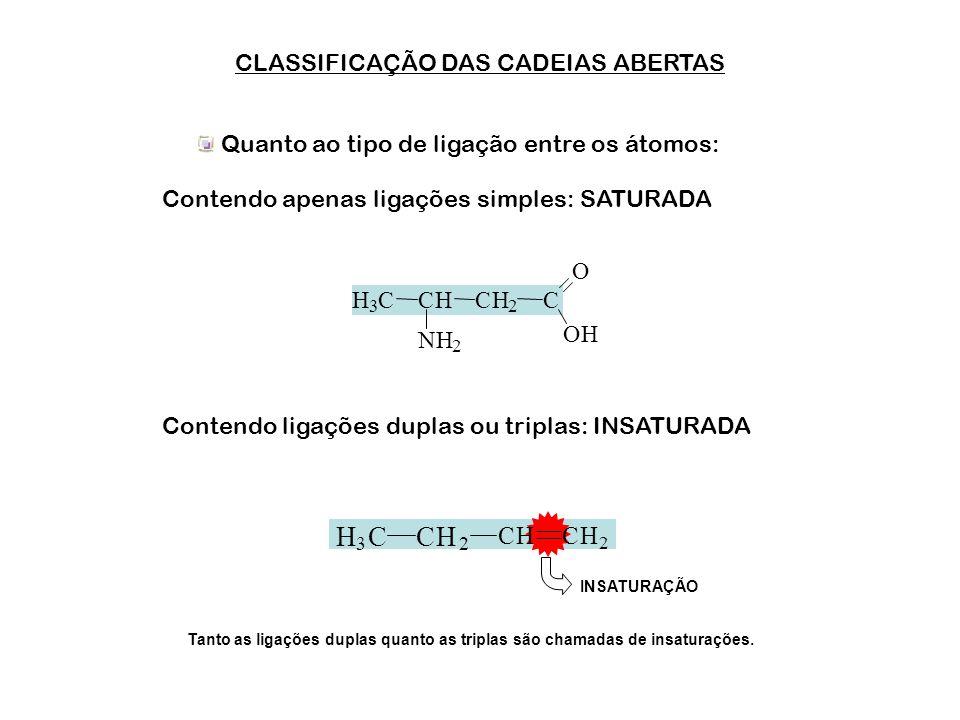 H C CLASSIFICAÇÃO DAS CADEIAS ABERTAS