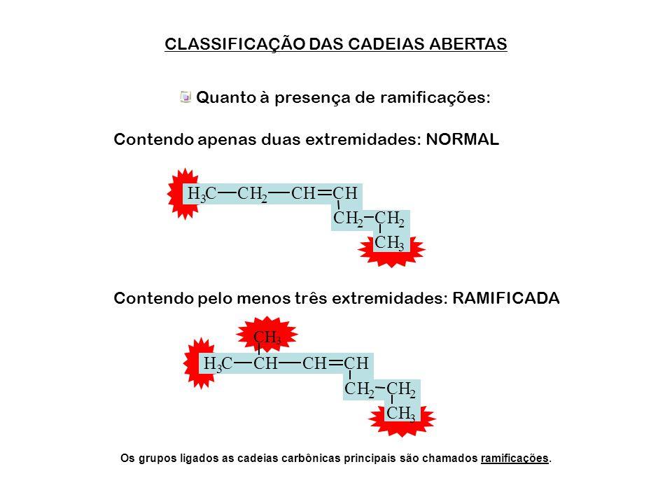 H C H C CLASSIFICAÇÃO DAS CADEIAS ABERTAS