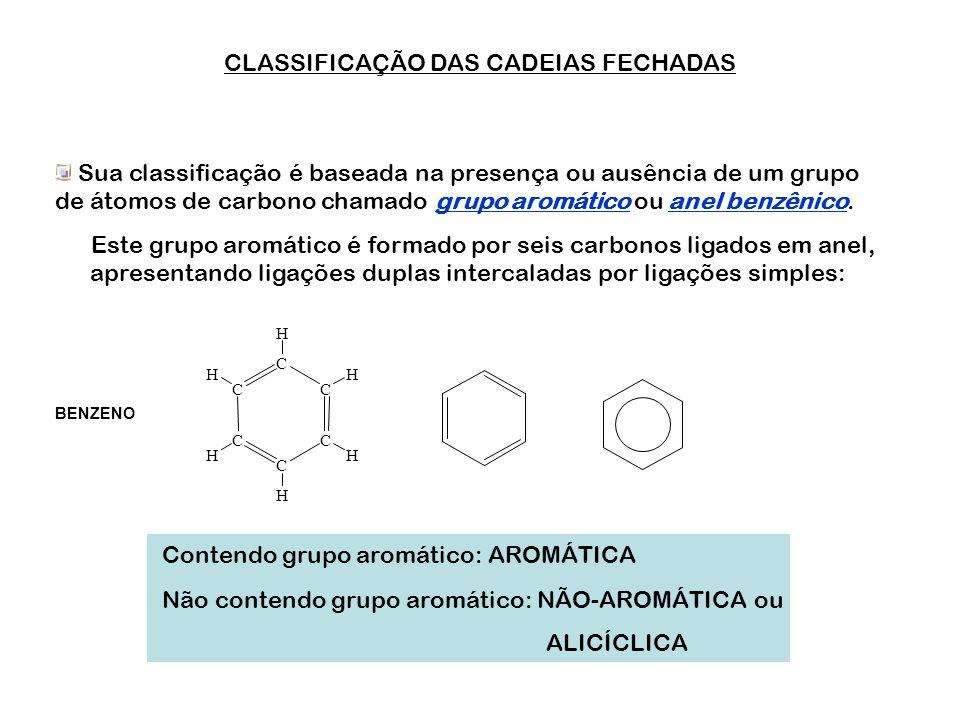 CLASSIFICAÇÃO DAS CADEIAS FECHADAS