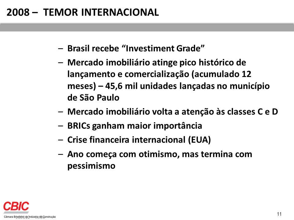 2008 – TEMOR INTERNACIONAL Brasil recebe Investiment Grade