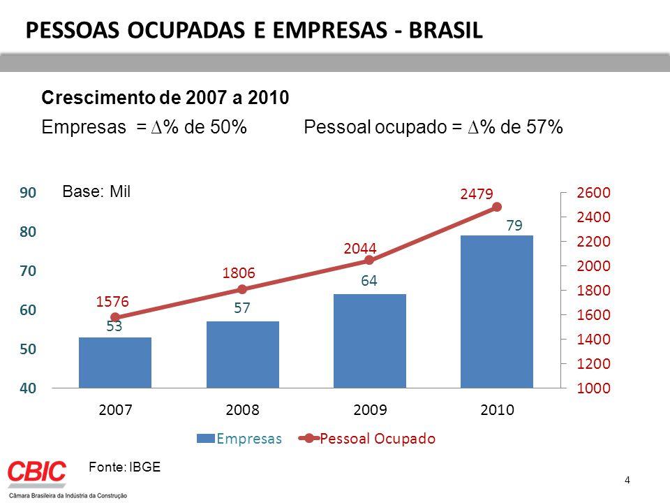 PESSOAS OCUPADAS E EMPRESAS - BRASIL
