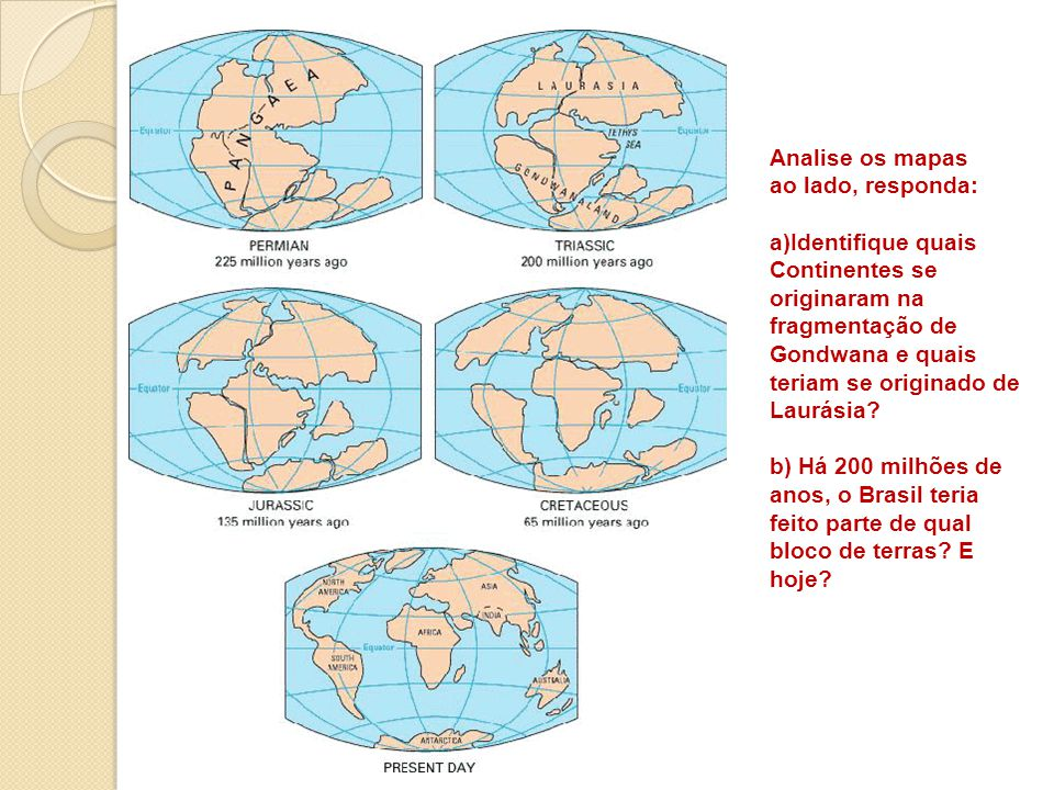 Analise os mapas ao lado, responda: Identifique quais Continentes se originaram na fragmentação de Gondwana e quais teriam se originado de Laurásia