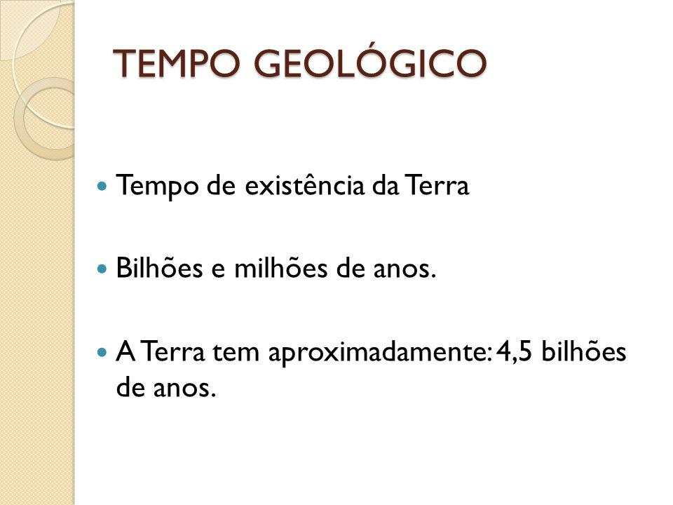 TEMPO GEOLÓGICO Tempo de existência da Terra