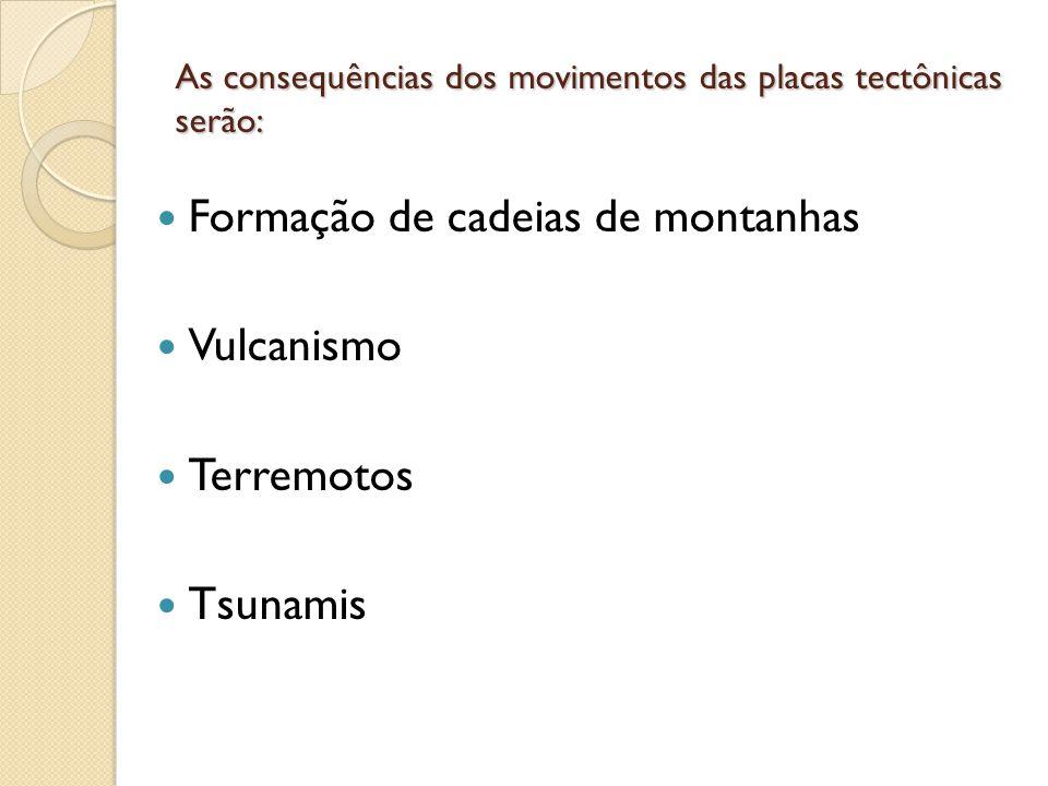 As consequências dos movimentos das placas tectônicas serão: