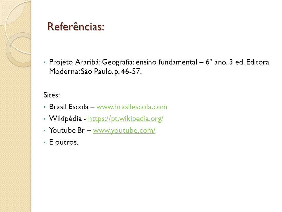 Referências: Projeto Araribá: Geografia: ensino fundamental – 6º ano. 3 ed. Editora Moderna: São Paulo. p. 46-57.
