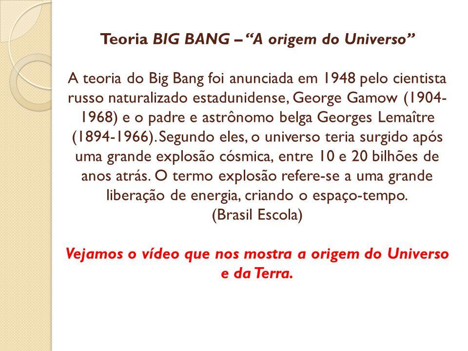 Teoria BIG BANG – A origem do Universo A teoria do Big Bang foi anunciada em 1948 pelo cientista russo naturalizado estadunidense, George Gamow (1904-1968) e o padre e astrônomo belga Georges Lemaître (1894-1966).