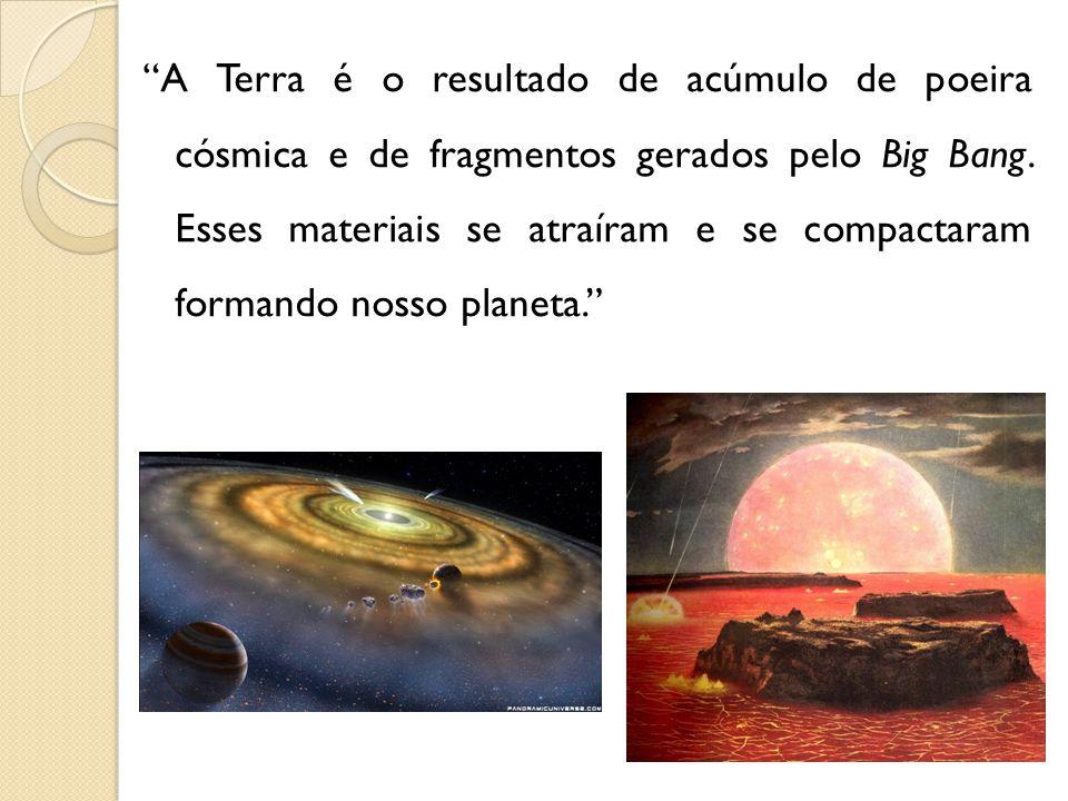 A Terra é o resultado de acúmulo de poeira cósmica e de fragmentos gerados pelo Big Bang.
