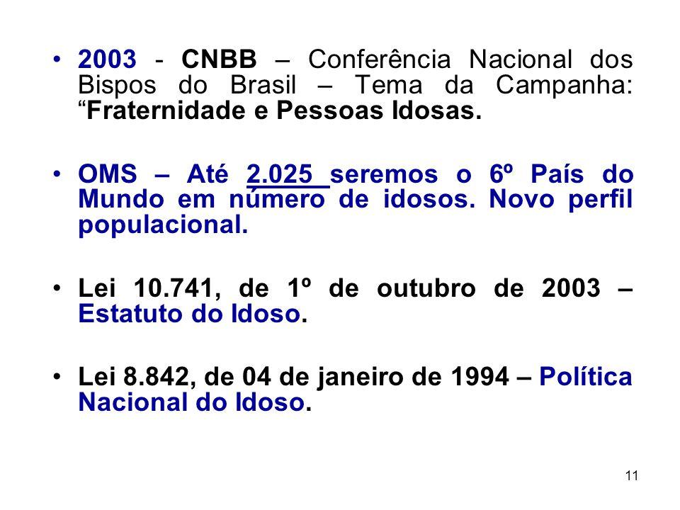 2003 - CNBB – Conferência Nacional dos Bispos do Brasil – Tema da Campanha: Fraternidade e Pessoas Idosas.