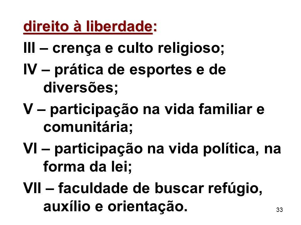 direito à liberdade: III – crença e culto religioso; IV – prática de esportes e de diversões; V – participação na vida familiar e comunitária;