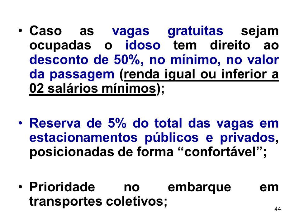Caso as vagas gratuitas sejam ocupadas o idoso tem direito ao desconto de 50%, no mínimo, no valor da passagem (renda igual ou inferior a 02 salários mínimos);