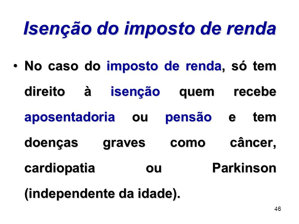 Isenção do imposto de renda