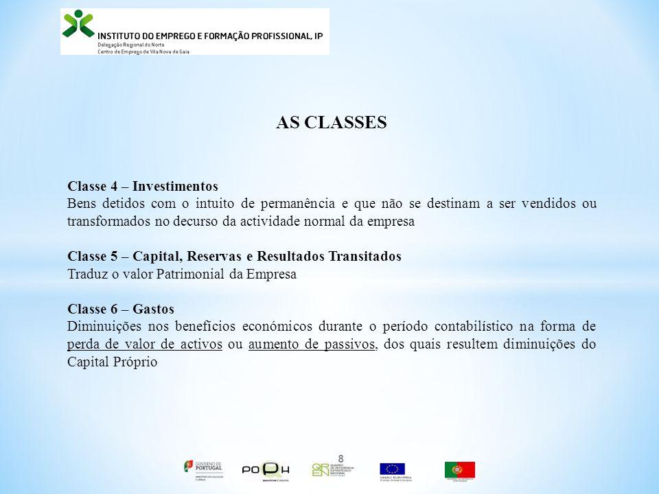 AS CLASSES Classe 4 – Investimentos