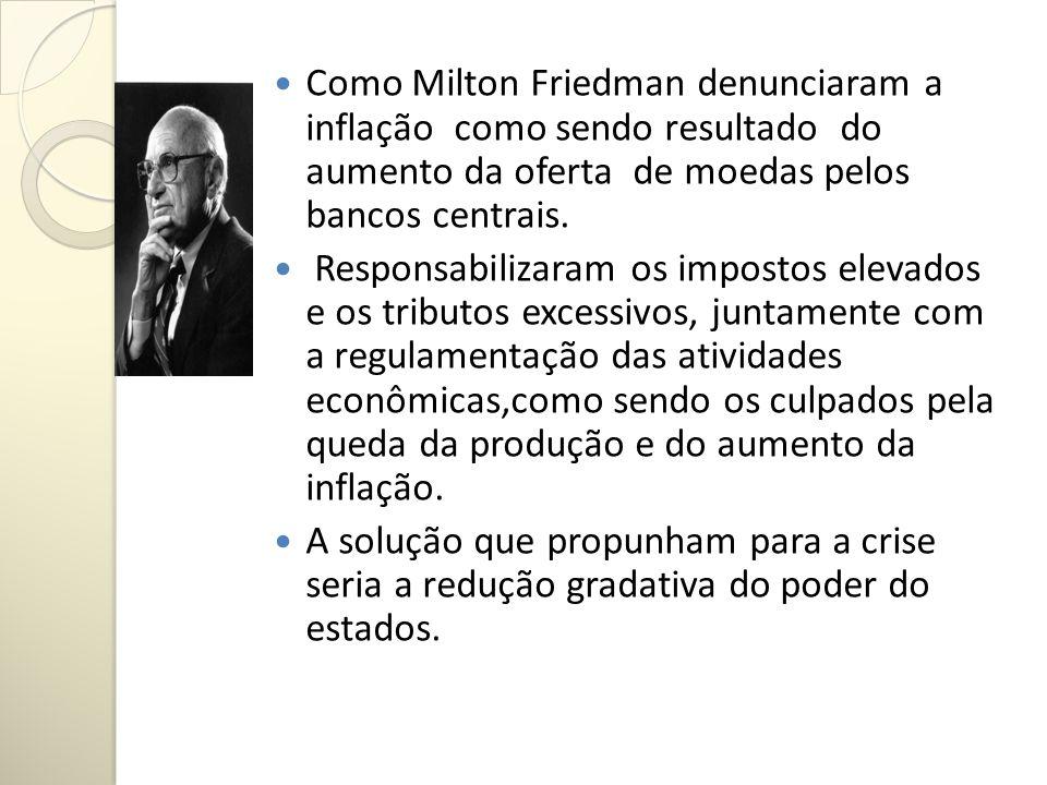 Como Milton Friedman denunciaram a inflação como sendo resultado do aumento da oferta de moedas pelos bancos centrais.
