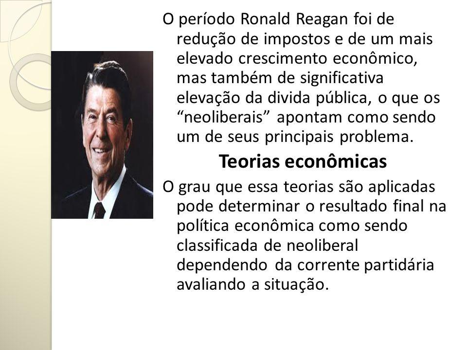 O período Ronald Reagan foi de redução de impostos e de um mais elevado crescimento econômico, mas também de significativa elevação da divida pública, o que os neoliberais apontam como sendo um de seus principais problema.