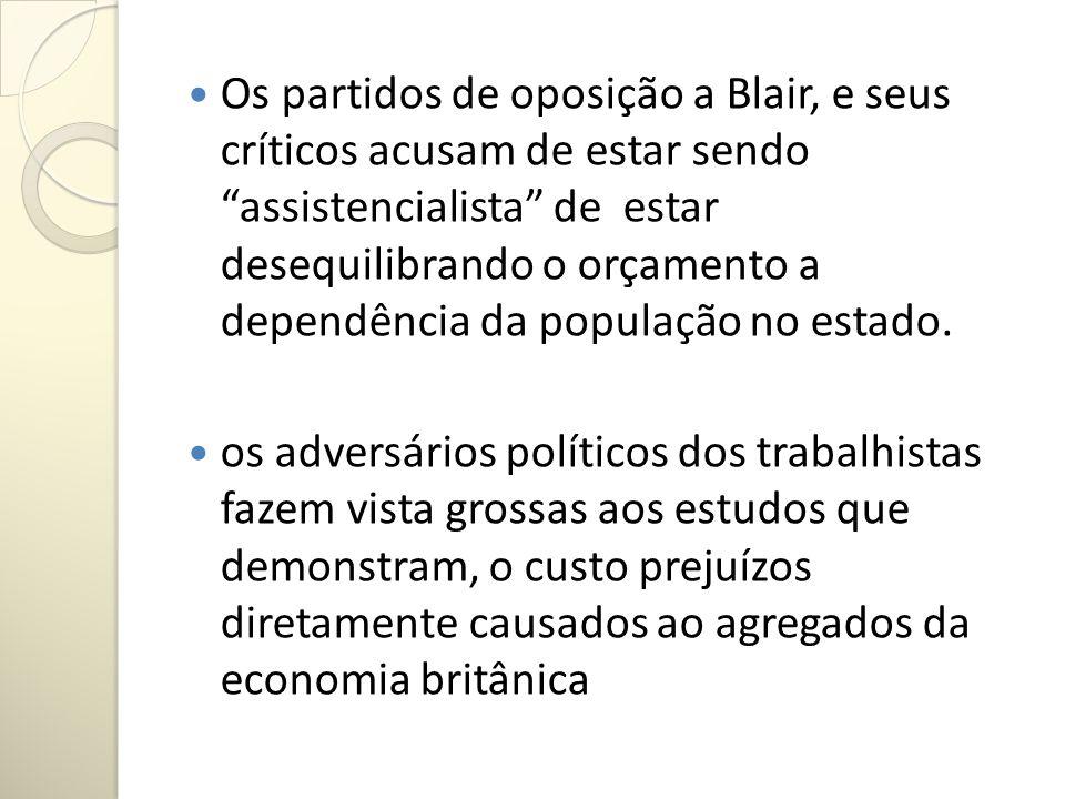 Os partidos de oposição a Blair, e seus críticos acusam de estar sendo assistencialista de estar desequilibrando o orçamento a dependência da população no estado.