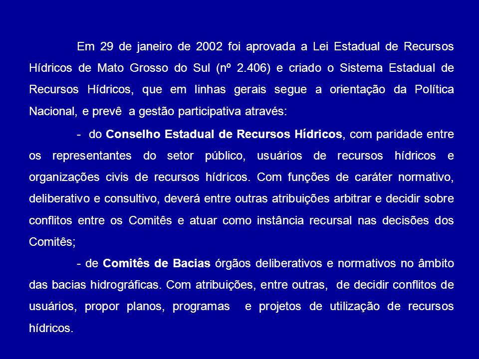 Em 29 de janeiro de 2002 foi aprovada a Lei Estadual de Recursos Hídricos de Mato Grosso do Sul (nº 2.406) e criado o Sistema Estadual de Recursos Hídricos, que em linhas gerais segue a orientação da Política Nacional, e prevê a gestão participativa através: